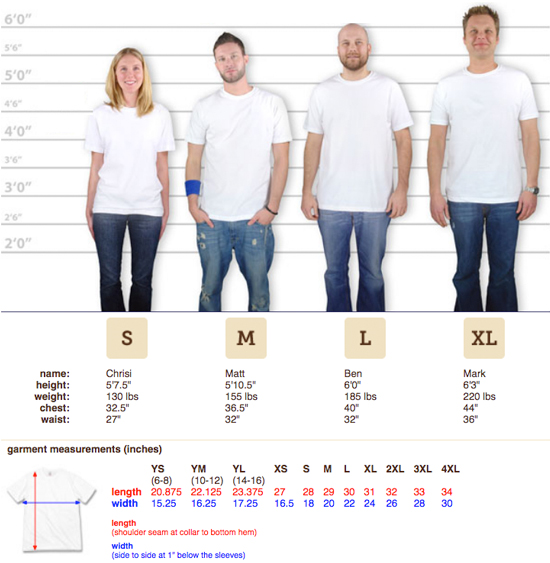 Men's Canvas Crew Neck T-shirt Sizing Chart